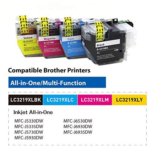 OBENO - 1 Set - LC3217 LC3219 4 Packs Cartucho de Tinta Compatible para Brother MFC-J5330DW MFC-J5335DW MFC-J5730DW MFC-J5930DW MFC-J6530DW MFC-J6930DW/J6935DW(1 Black, 1 Cyan, 1 Magenta, 1 Amarillo)
