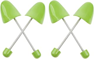 Adjustable Plastic Spring Keep Shape Shoe Tree for Women, Pack of 2 Pairs (Women, Green)