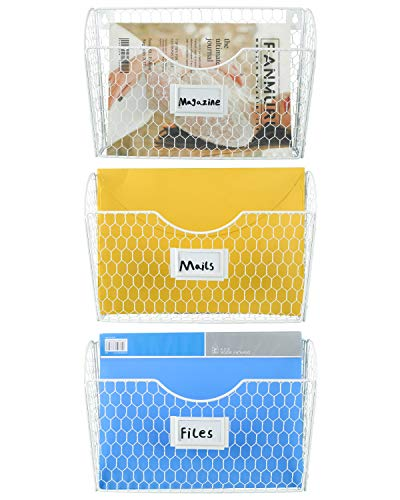 EasyPAG 3 Single Pockets Hanging File Holder Wall Mount Mail Organizer Metal Chicken Wire Magazine Rack with Tag Slot,White