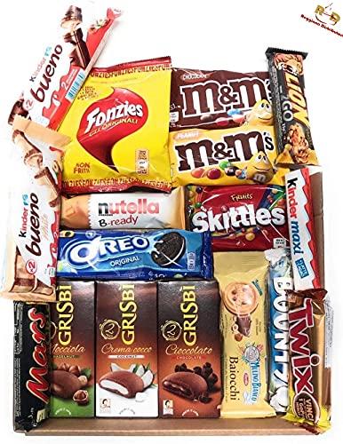 Mistery Box Assortita Snack Idea Regalo Compleanno 17/20 Pezzi Mars M&m's Kinder Lion Mars Ferrero...