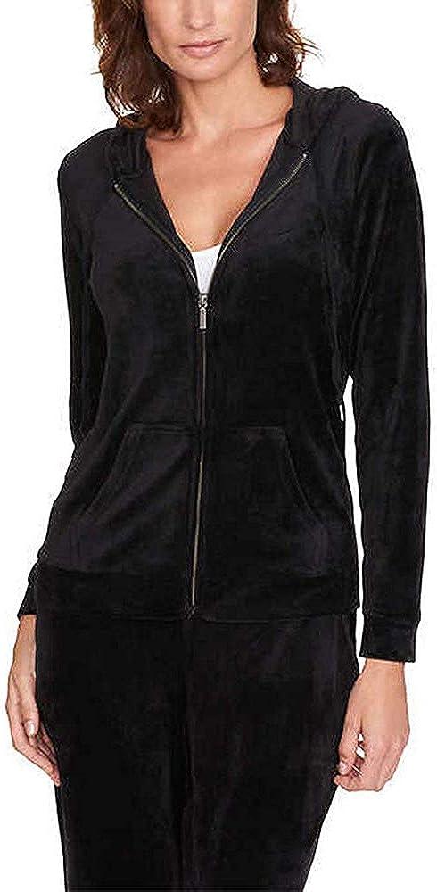 Gloria Vanderbilt Women Velour Full Zip Sweatshirt Hoodie Jacket