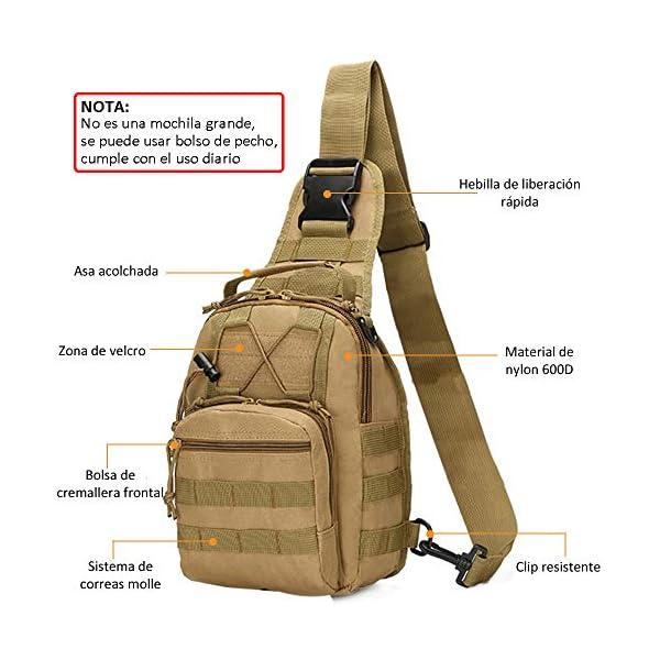 51YKnTGVx6L. SS600  - COOLEAD Mochila Militar Hombre Triangular Crossbody Bandolera Táctica Impermeable Portátil Bolso Pecho Durable Tela…