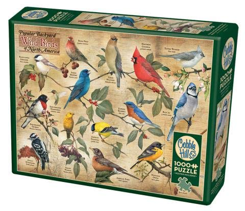 Cobble Hill 1000 Piece Puzzle - Popular Backyard Wild Birds of North America - Sample Poster Included