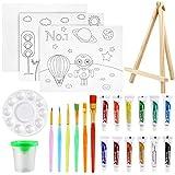 Pllieay Juego de 24 piezas de pintura para niños, juego de pintura acrílica con mini caballete de mesa, pintura acrílica, pinceles, mini limpiador de pinceles, tablas de lona, paleta