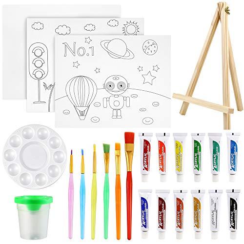 Pllieay Lot de 24 pièces de peinture pour enfants, ensemble de peinture acrylique avec mini chevalet, peinture acrylique, pinceaux, mini nettoyeur de pinceaux, tableaux en toile, palette