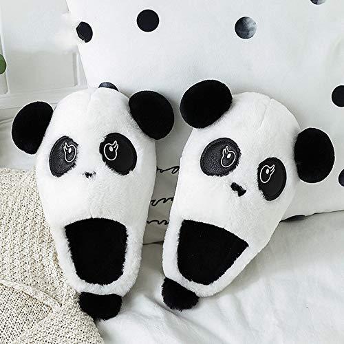 SKYROPNG Pantoufles Femmes Coton Slippers,Les Animaux Amoureux Cartoon Furry Panda Blanc Chaud Hiver Intérieure Confortable Doux Chaussons Femmes Hommes Accueil Fluffty,Chaussures Coton 40-41