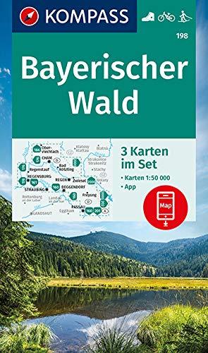 KOMPASS Wanderkarte Bayerischer Wald: 3 Wanderkarten 1:50000 im Set inklusive Karte zur offline Verwendung in der KOMPASS-App. Fahrradfahren. Skitouren. (KOMPASS-Wanderkarten, Band 198)