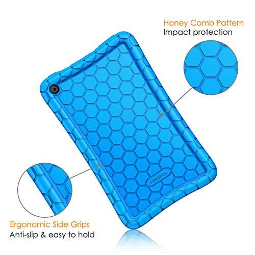 Fintie Silikon Hülle kompatibel für Fire 7 Tablet (9.Generation - 2019) - Leichte rutschfeste Stoßfeste Silikon Tasche Case Kinderfreundliche Schutzhülle, (Blau)