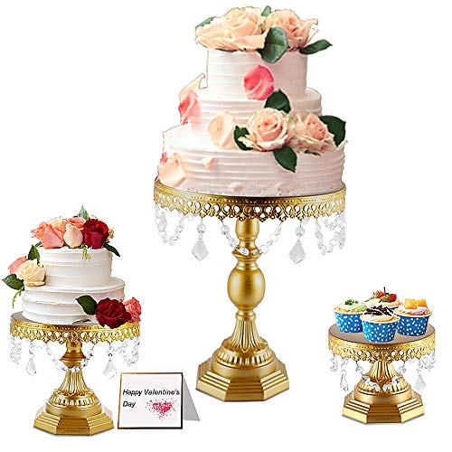 Weharnar -8 inch / 10 inch / 12 inch 3-Piece Cake Stand Set Square Base Dessert Display Cake Stand with Smooth Crystal Pendant on The Side for Baby Shower, Wedding Birthday Party Celebration(gold)
