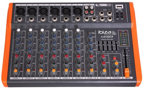 Ibiza MX801 - Mesa de mezclas de 8 canales