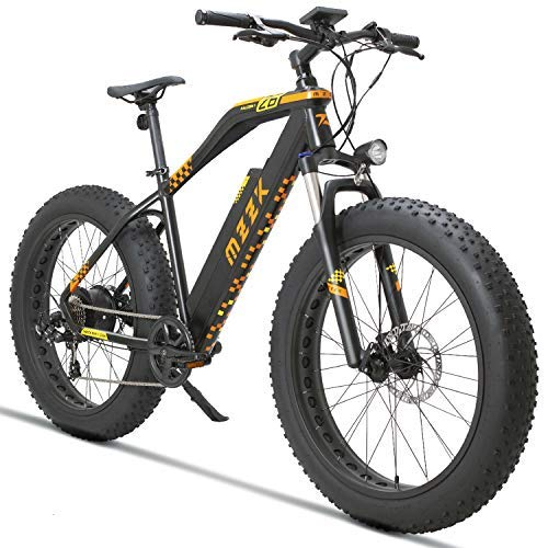 MZZK 7-Speed Wide Fat Tire Electric Moped Electric Mountain Bicycles with Removable Lithium Battery (48V 624W) (Black, 26' Mountain Bike) (26' Mountain Bike-Black)