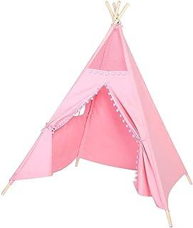 GOTOTP Tipi Indio para Ninos,Tienda de Campaña de algodón de Plegable con una Ventana,para dormitorios Infantiles, Sala de Juegos, Sala de Estar,150x120 x120cm (Rose)