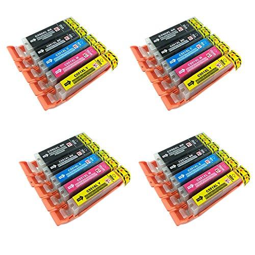 Perfect Print PGI-550 / CLI-551 - 20 cartucce di inchiostro compatibili per Canon Pixma iP7250 iP8750 iX6850 MG5450 MG5550 MG6350 MG6450 MG7150 MX725 MX925, 4x PGI 550BK, 4x CLI 551BK, 4x CLI 551C, 4x CLI 551m e 4x CLI 551Y