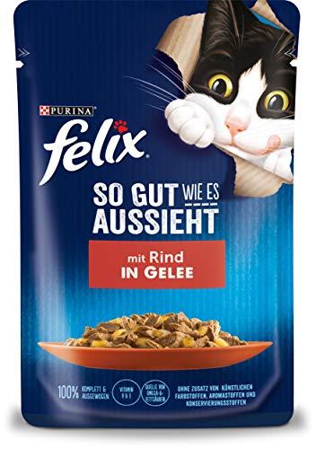 FELIX So gut wie es aussieht Katzenfutter nass in Gelee, mit Rind, 26er Pack (26 x 85g)