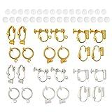 Craftdady 24 piezas de clip convertidor de pendientes de colores mezclados no perforados con almohadillas para aretes cómodas para convertir cualquier perno en clip en joyería de pendientes