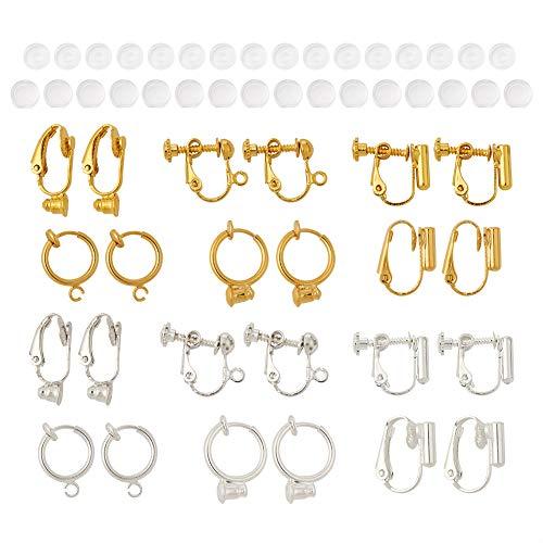 Craftdady - 24 orecchini a clip a clip, colori misti, non forati, con comodi cuscinetti per trasformare qualsiasi perno in orecchini a clip per creare gioielli