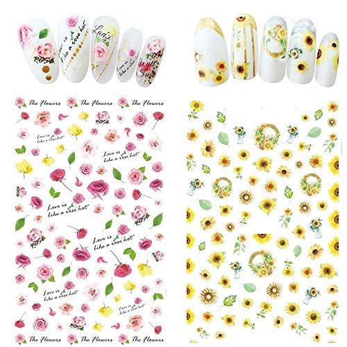 Bonnie-Sam 8 Sheets Spring Flower Nail Art Sticker Colorful Rose Sunflower Pattern Decal for Season Fingernails Manicure (Flower Pattern)