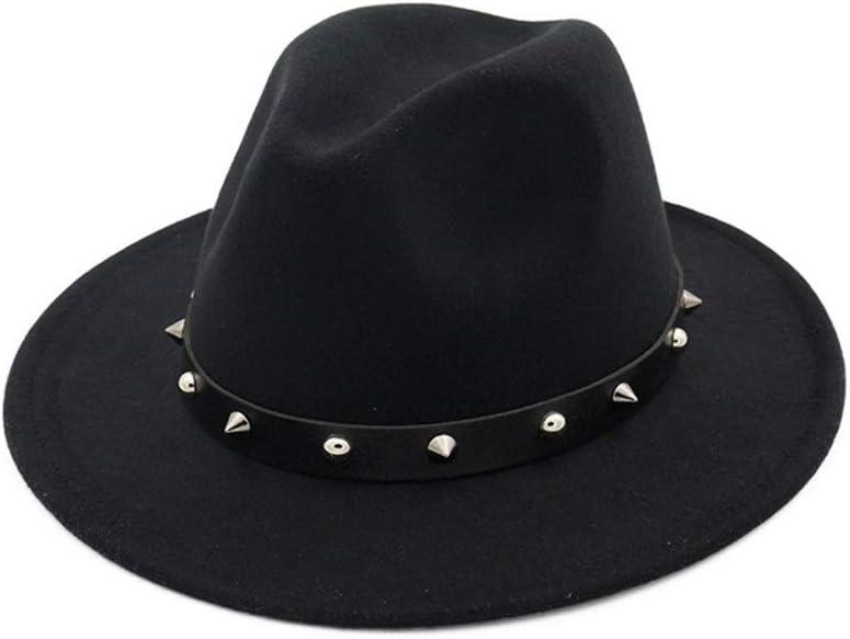 No-branded Women Men Fedora Hat with Punk Belt Elegant Lady Autumn Winter Hat ZRZZUS (Color : Black, Size : 56-58)