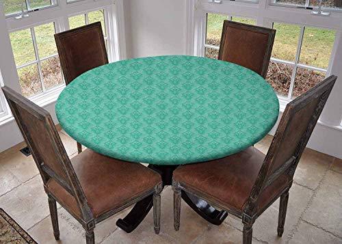 Ronde tafelkleed keuken decoratie, tafelblad met elastische randen, Abstract Bloemenpatroon Bruiloft Geïnspireerd Zacht Gekleurd Ontwerp Complex Motieven Cream Beige, Eettafelkleed