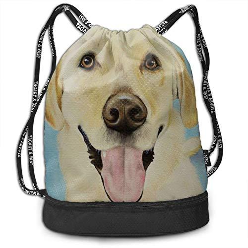 XCNGG Perro Labrador Amarillo Pintura para Mascotas Mochila con cordón Bolsas de Hilo Resistentes al Agua Bolsa de Fitness Personalizada Ligera Adecuado para Adultos Jóvenes Natación Viajes Playa