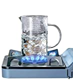 Glass Measuring Cup Buperor Frozen High Borosilicate Glass Scale Cup Beaker Microwave Flame Heating Frozen V-Shaped Spout for Milk Coffee Kitchen Restaurant Baking Drink Bartending 2 Cup