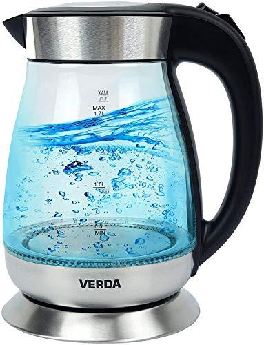 Wasserkocher Verda 1,7L 2200W Edelstahl LED Beleuchtung Glas SN0617L-7