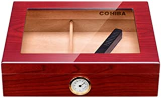 LGFSM Cigar Box, Moisturizing Fragrant Cedar Wood, Transparent Sunroof Built-in Humidifier About 35 Sticks (Color : A)