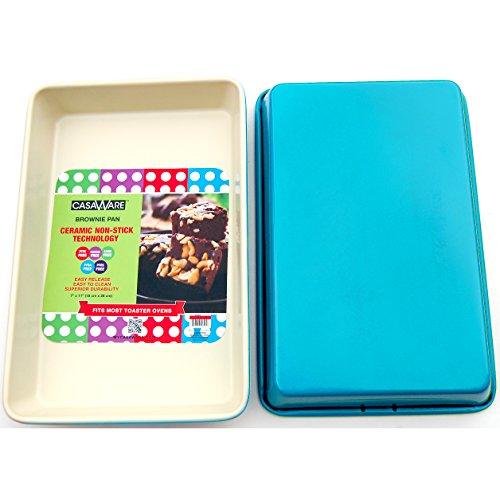 casaWare Ceramic Coated Non-Stick 11 x 7-Inch Brownie Pan (Cream/Blue)