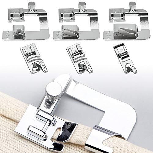 DECARETA Prensatelas para máquina de coser, de acero inoxidable, 6 unidades, para máquina de coser, pie para dobladillo, pie de dobladillo, color plateado, multifunción