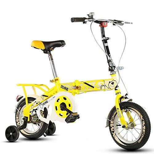 Bicicleta Plegable para niños, 12-14-16-20 Pulgadas para niños y niñas Bicicleta para niños 6-8-10-12 años Cochecito de bebé (Color : Yellow-B, Tamaño : 20 Inch)