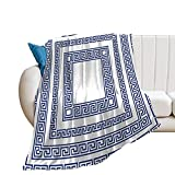Greece with Greek Meander Style Pattern Grecian Mediterranean Border Ethnic Flannel Blanket for twin bed living room bedroom sofa beach Camping Cold Cinema Travel Air-Conditioned Room car throw blanke