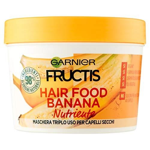 Garnier, Fructis, Hair Food Banana, pflegende Haarmaske, 3-in-1 mit veganer Formel, für trockenes Haar, 390 ml