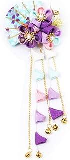 CRB Fashion Womens Girls Japanese Kimono Flower Kanzashi Hair Ornament Tie Band Clip (Blue)