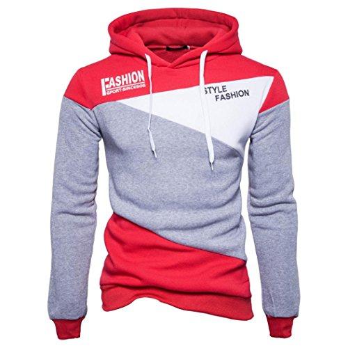 Amlaiworld Herren Freizeit bunt Flickwerk Sweatshirt Winter Herbst dick Kapuzenpullover Warm Fashion Langarmshirts Fitness Mäntel Mode Sport Pulli (M, Grau)