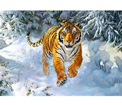 alles-meine.de GmbH Puzzle 500 Teile - Sibirischer Tiger - im Schnee  - Foto Gemälde / Zeichnung - Amurtiger Ussuritiger / Gepard - Romantisches Bild - Tiere im Wald - Winterwa..