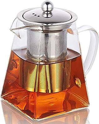 19.3oz Glass Teapot with Infuser, Borosilicate Glass Tea Kettle for Loose Leaf Tea, High Borosilicate Clear Glass Tea Pots for Loose Leaf Tea and Blooming Tea, Stovetop Save (550ML)