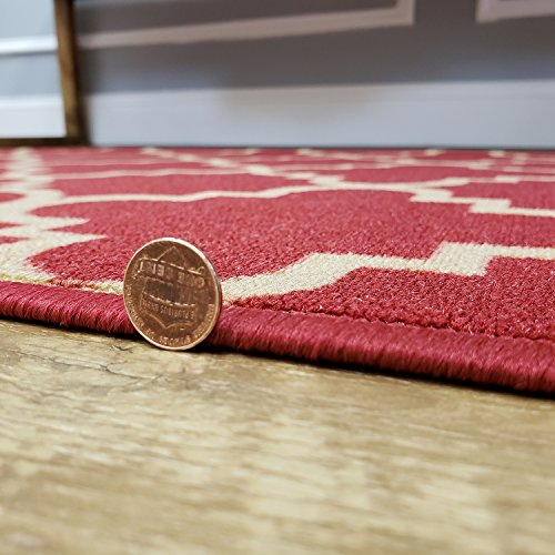 Custom Cut 22-inch Wide by 9-feet Long Runner, Red Moroccan Trellis Non Slip, Non-Skid, Rubber Backed Stair, Hallway, Kitchen, Carpet Runner Rug - Choose Your Width by Length