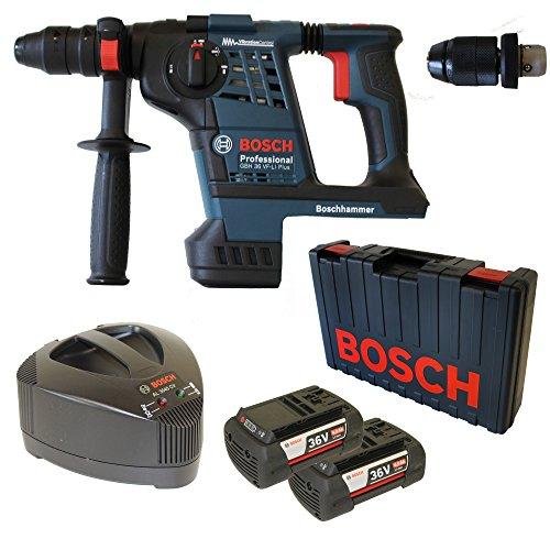 Bosch Akku-Bohrhammer GBH 36 VF-Li PLUS mit Meißelfunktion 2 x Akku 36V 4,0 Ah und Ladegerät AL3680CV inkl. Wechselfutter im Handwerkerkoffer