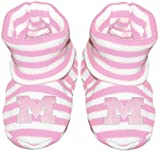 University of Michigan Block M with Outline Newborn Baby Striped Bootie Sock