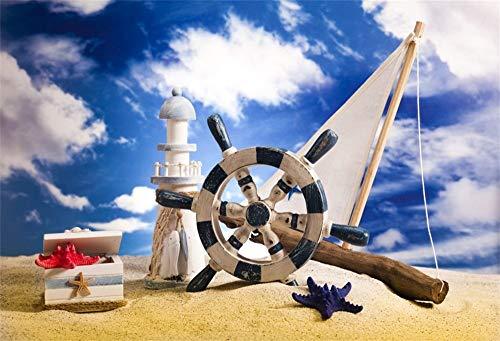 EdCott 5x3 pies Bon Voyage Photo Booth Telón de Fondo Playa Arena Faro Navegación Barco de la Marina Timón Estilo náutico Marinero Marinero Fiesta de cumpleaños Fotografía Fondo Photo Photo Props