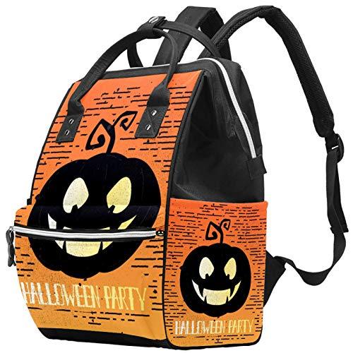 Mochila de pañales para fiesta de Halloween con calabaza, gran capacidad, bolsa de viaje para madres y papás