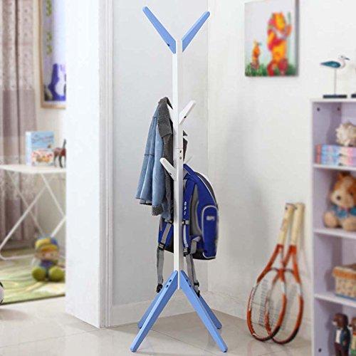 Dongyd - Perchero de madera maciza para niños, diseño de árbol, color azul