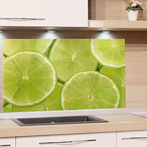 GRAZDesign Küchen-Spritzschutz Glas, Bild-Motiv Limette grün, Glasbild als Küchenrückwand - Küchenspiegel - Wandschutz Küche Herd / 80x60cm