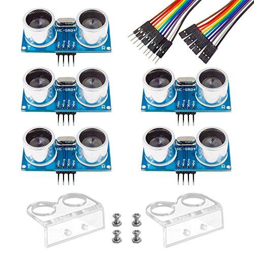 Smraza 5pcs Ultrasonic Module HC-SR04 Distance Sensor with 2pcs Mounting Bracket for Arduino R3 MEGA Mega2560 Duemilanove Nano Robot XBee ZigBee