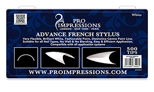 Pro Impressions Advance - Juego de 100 puntas de uñas para lápiz capacitivo, color blanco