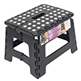 Totally Living 9' Inch Folding Step Stool | Lightweight Anti-Skid & Non-Slip Design | Collapsible Stepping Stool | 300 lb Capacity | Black