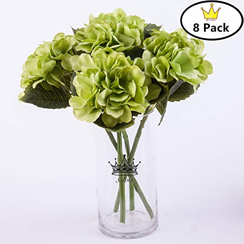 S.Ena 6 Branch 30 Heads Artificial Silk Fake Flowers Leaf Hydrangea Wedding Floral Home Decor Bouquet Birthday Party DIY, Pack of 8 (Green)
