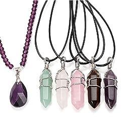 Natural Crystal Rose Quartz Amethyst Aquamarine Polished Stone Pendant Necklace