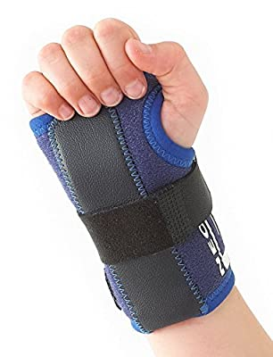 Neo G Wrist Brace for Kids - Stabilized Support for Carpal Tunnel, Juvenile Arthritis, Joint Pain, Tendonitis, Hand Sprains - Adjustable Compression - Class 1 Medical Device - One Size - Right - Blue