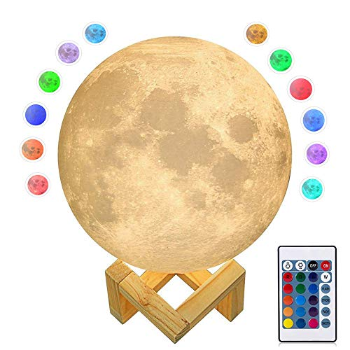 7.1IN Large Seamless Moon Light, ACED 3D Printed 16 Colors RGB Moon Lamp with Remote & Touch Control, Adjustable Brightness USB Rechargeable LED Lunar Light with Wooden Stand for Creative Gift (18cm)